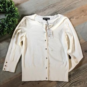 Express Cream Button Up Cardigan Sweater